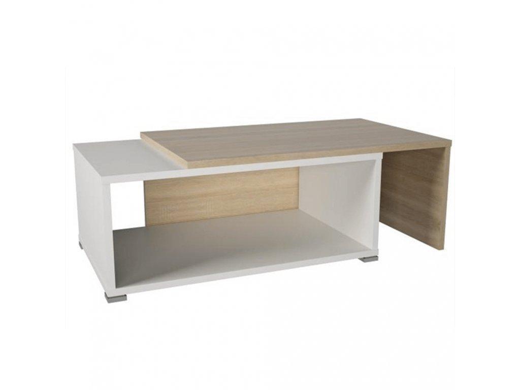 Konferenčný stolík, rozkladací, dub sonoma/biela, DRON