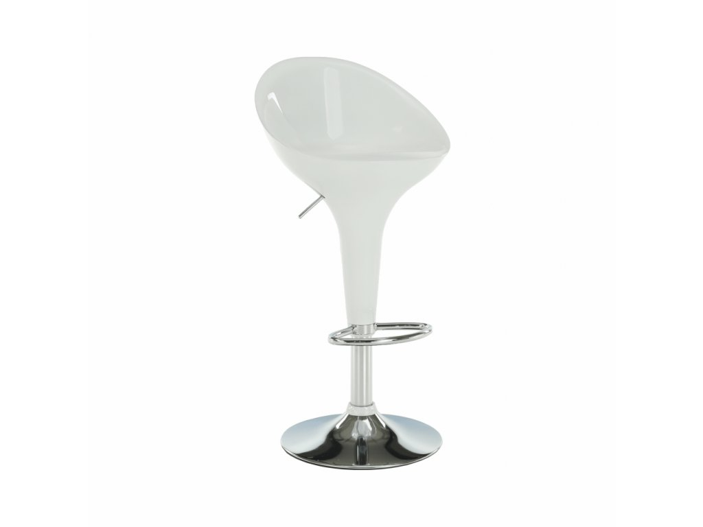 Barová stolička, biela/chróm, ALBA NOVA
