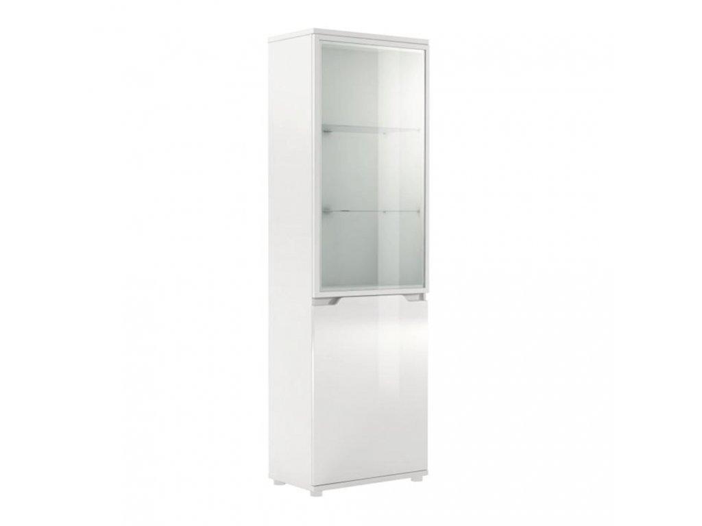 Vitrína s LED osvetlením, biela/biela s extra vysokým leskom, ADONIS AS 10