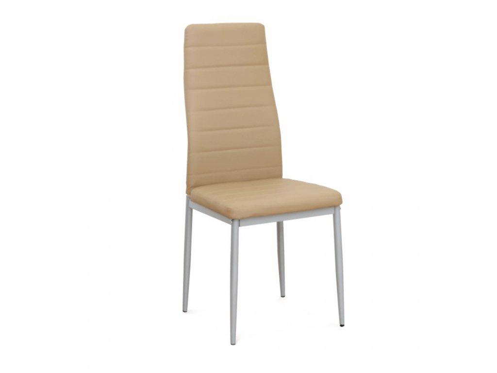 Stolička, béžová ekokoža/sivý kov, COLETA NOVA