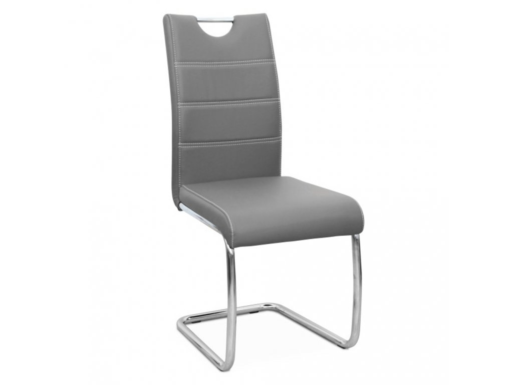 Jedálenská stolička, svetlosivá/svetlé šitie, ABIRA NEW