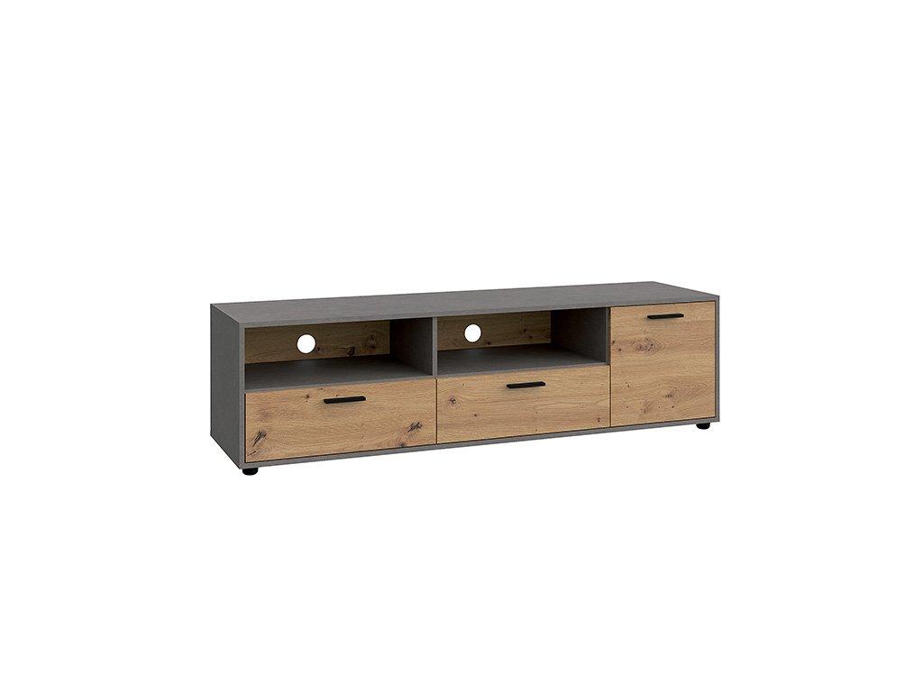 RTV asztal, tölgy artisan/smooth szürke, PARIDE 1D2S