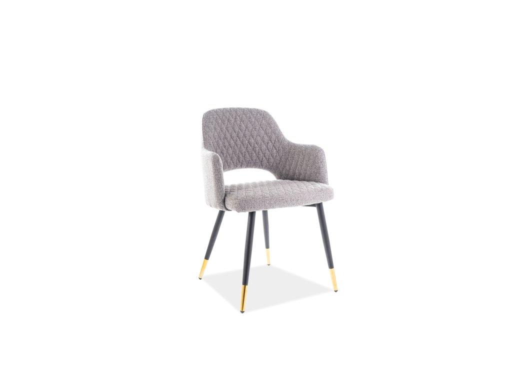 Signal Jedálenská stolička FRANCO VELVET sivá/čierna