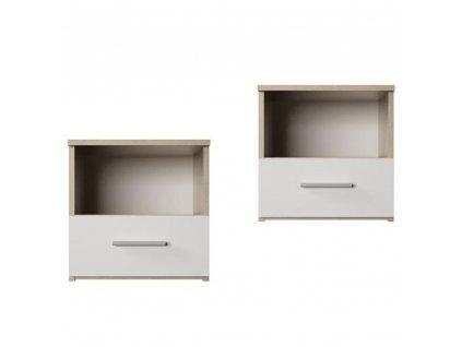 Nočný stolík, 2 ks, dub sonoma/biela, GABRIELA