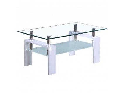 Konferenčný stolík, biela extra vysoký lesk HG/sklo, LIBOR NEW