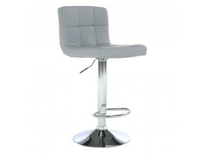 Barová stolička, ekokoža sivá/chróm, KANDY NEW