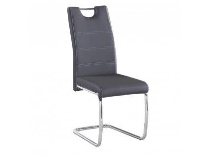 Jedálenská stolička, tmavosivá/svetlé šitie, ABIRA NEW