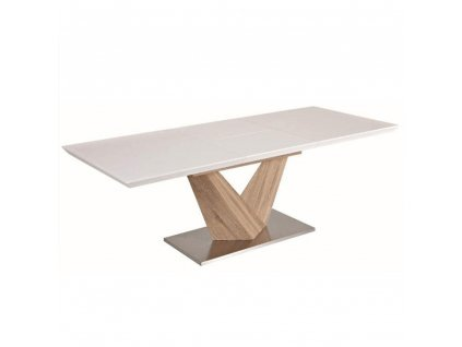 Jedálenský stôl, biela extra vysoký lesk HG/dub sonoma, DURMAN