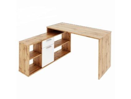 PC stôl, dub wotan/biela, NOE NEW