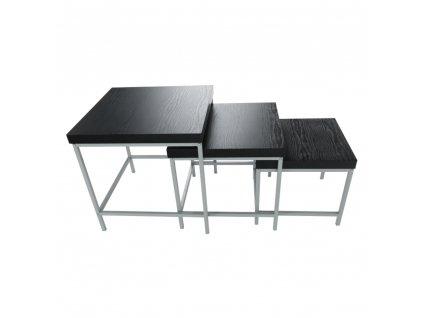 Sada 3 príručných stolíkov, čierny dub/sivá, ALVAN