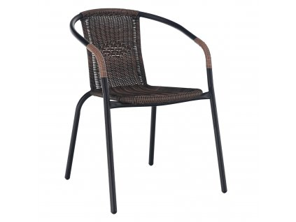 Stohovateľná stolička, hnedá/čierny kov, DOREN