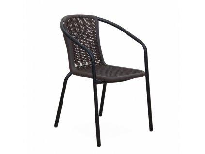Stohovateľná stolička, tmavohnedá/čierny kov, VARDA