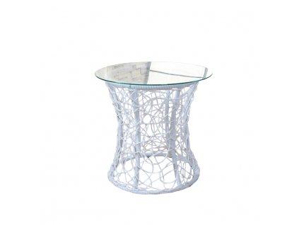Príručný stolík, biela, SALMAR