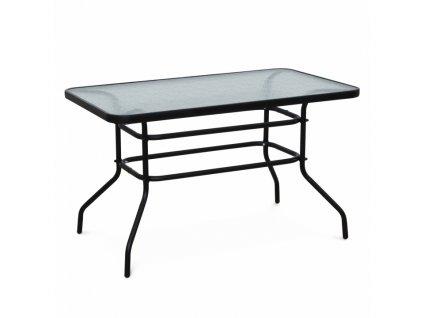 Jedálenský stôl, tvrdené sklo/oceľ, DEMAT NEW