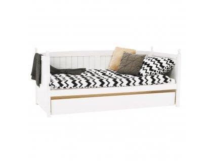 Posteľ s prístelkou, borovicové drevo, biela, 90x200, GLAMIS