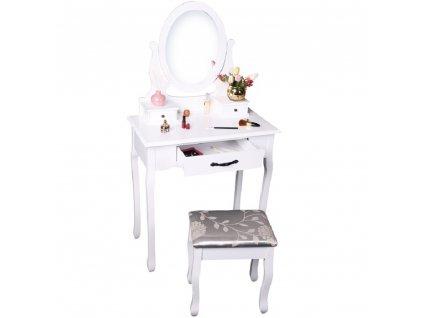Toaletný stolík s taburetom, biela/strieborná, LINET NEW