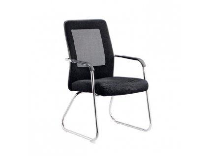 Zasadacia stolička, čierna/sivá/chrómová, SPAZIO