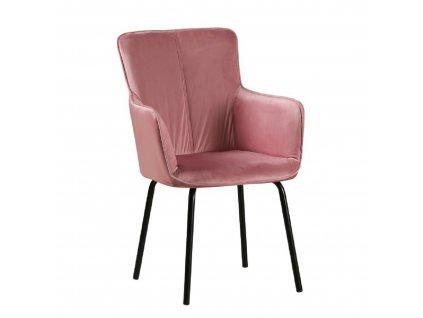 Dizajnové kreslo, ružový zamat/čierna, VETAR