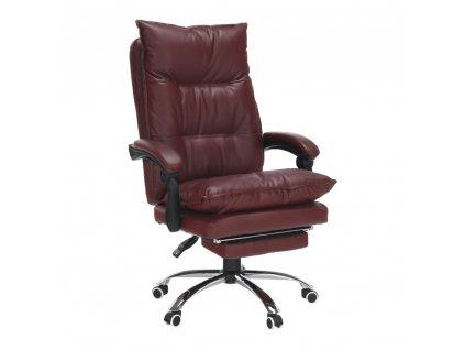 Kancelárske kreslo s podnožou, ekokoža bordová, DRAKE