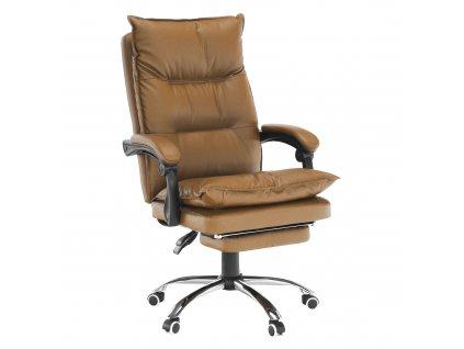 Kancelárske kreslo s podnožou, ekokoža hnedá, DRAKE