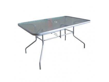 Jedálenský stôl, tvrdené sklo/strieborná, DEMAT NEW