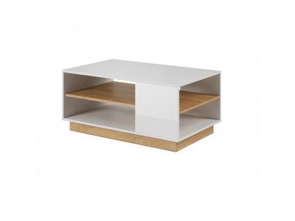 Konferenčný stolík, biela/dub grandson/biely lesk, CITY
