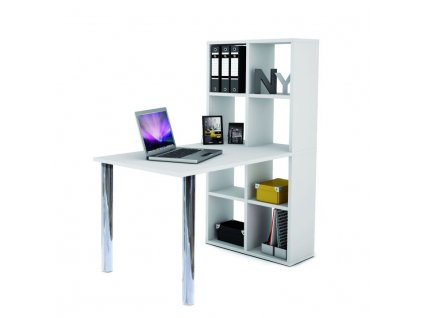 Písací stôl s regálom, biely, BEXINTON