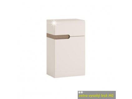 Dolná skrinka 1D1S, biela extra vysoký lesk HG/dub sonoma truflový, pravá, LYNATET TYP 156