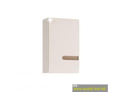 Horná skrinka 1D, biela extra vysoký lesk HG/dub sonoma truflový, ľavá, LYNATET TYP 157