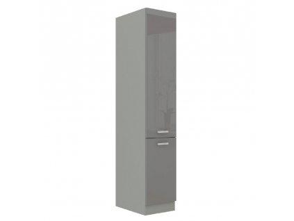 Vysoká dvojdverová skrinka, sivá vysoký lesk/sivá, PRADO 40 DK-210