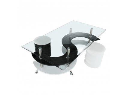 Konferenčný stolík, biela extra vysoký lesk HG/čierna extra vysoký lesk HG, RUPERT