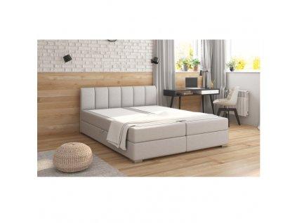 Boxpringová posteľ 160x200, svetlosivá, RIANA KOMFORT