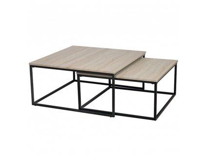 Set dvoch konferenčných stolíkov, dub sonoma/čierna, KASTLER TYP 1