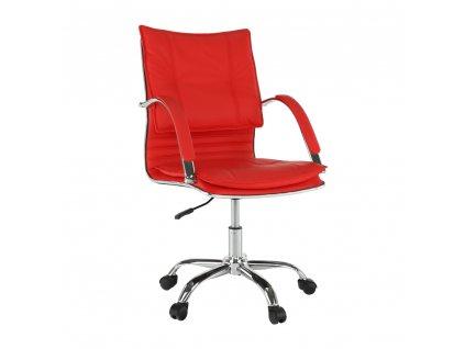 Kancelárske kreslo, ekokoža červená, QUIRIN NEW