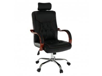 Kancelárske kreslo, čierna ekokoža/čerešňa/chróm, ZAKAR