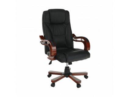 Kancelárske kreslo, čierna ekokoža/čerešňa, PAULOS