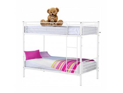 Kovová poschodová rozložiteľná posteľ, biela, 90x200, JAMILA