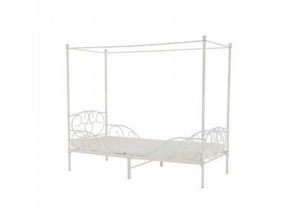 Kovová posteľ s nebesami, biela, 90x200, ADELISA
