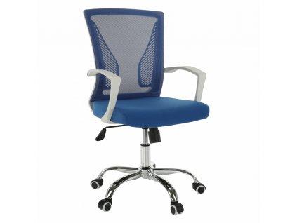 Kancelárske kreslo, modrá/biela/chróm, IZOLDA