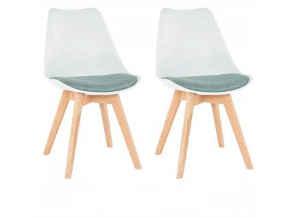 2 kusy, stolička, biela/zelená, DAMARA