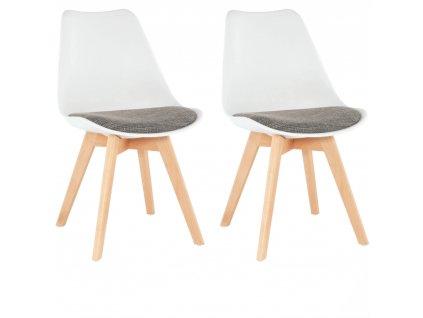 2 kusy, stolička, biela/hnedá, DAMARA