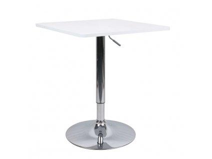 Barový stôl s nastaviteľnou výškou, biela, FLORIAN 2 NEW