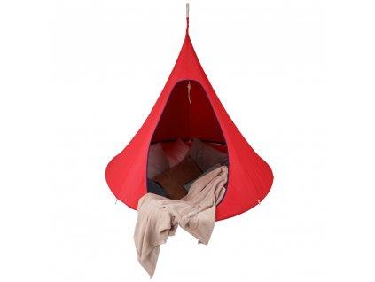 Závesné hojdacie kreslo, červená, KLORIN NEW BIG SIZE CACOON HAMMOCK