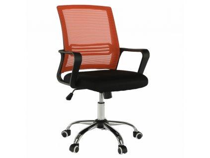 Kancelárska stolička, sieťovina oranžová/látka čierna, APOLO
