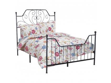 Kovová posteľ s roštom, čierna, 160x200, RAJANA