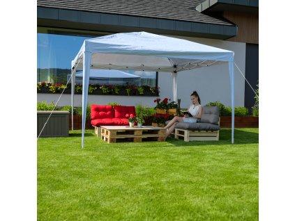 Nožnicový skladací záhradný pavilón/altánok, biela, 3x3 m, TREKAN TYP 2