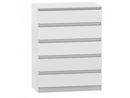 5 šuplíková komoda, biela, HANY NEW 005