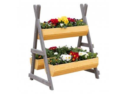 Drevený stojan na kvety, prírodná/sivá, BERON