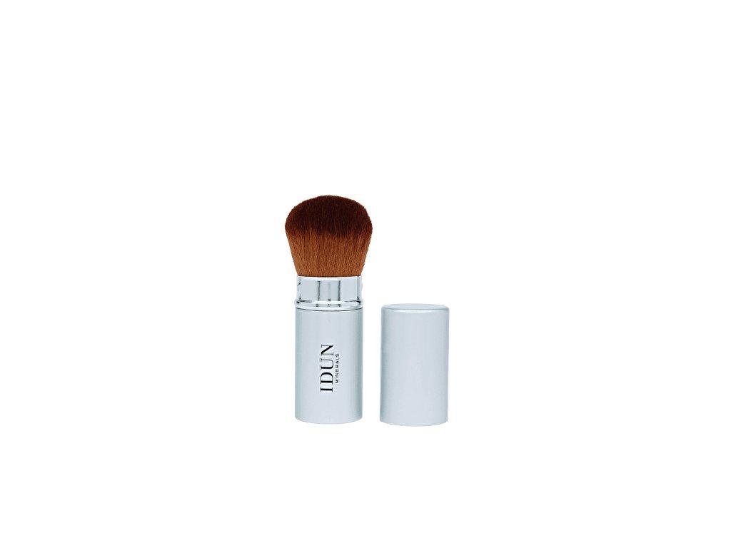 Kosmetický štětec zatahovací Kabuki pro nanášení minerálního makeupu a sypkého pudru vhodný i pro citlivou pleť a alergiky Idun Minerals