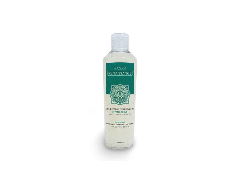 Micelární čistící gelový scrub s mikrogranulemi z celulózy a výtažky z bylin.